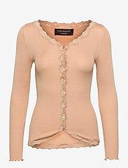 Silk cardigan w/ lace - PURE SAND
