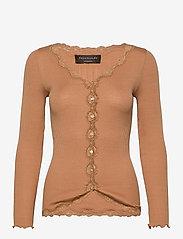 Silk cardigan w/ lace - TAN