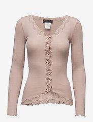 Rosemunde - Silk cardigan ls w/vintage lace - koftor - vintage powder - 0