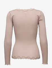 Rosemunde - Silk cardigan ls w/vintage lace - koftor - vintage powder - 1