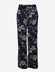 Rosemunde - Trousers - bukser med brede ben - blue blossom print - 0