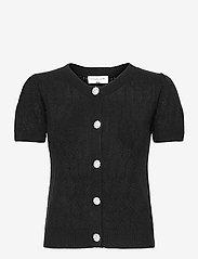 Wool & cashmere cardigan ss - BLACK
