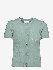 Wool & cashmere cardigan ss - BLUE MINT