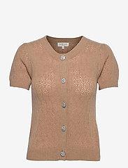 Wool & cashmere cardigan ss - CAMEL MELANGE