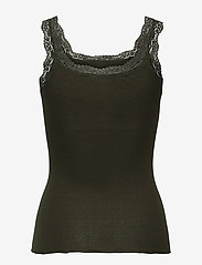 Rosemunde - Silk top w/lace - Ärmlösa blusar - black green - 1