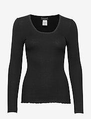Rosemunde - Silk t-shirt w/ elastic band - långärmade toppar - black - 0