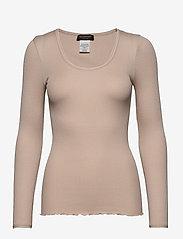 Rosemunde - Silk t-shirt w/ elastic band - långärmade toppar - cacao - 0