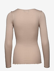 Rosemunde - Silk t-shirt w/ elastic band - långärmade toppar - cacao - 1