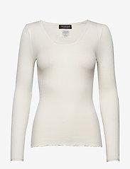 Rosemunde - Silk t-shirt w/ elastic band - långärmade toppar - ivory - 0