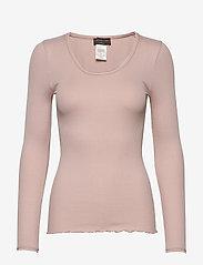 Rosemunde - Silk t-shirt w/ elastic band - långärmade toppar - vintage powder - 0