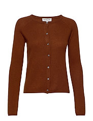 Wool & cashmere cardigan ls - AMBER BROWN
