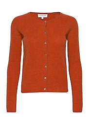 Wool & cashmere cardigan ls - BURNT ORANGE MELANGE
