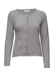 Wool & cashmere cardigan ls - LIGHT GREY MELANGE