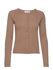 Wool & cashmere cardigan ls - NOUGAT BROWN