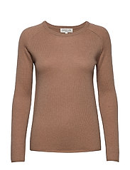 Wool & cashmere pullover ls - NOUGAT BROWN