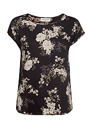 Blouse ss - BLACK FAIRY FLOWERS PRINT