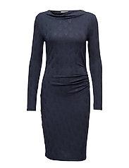 Dress ls - NAVY TEARDROP PRINT