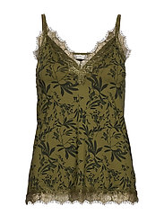 Strap top - GREEN SMALL LEAF PRINT