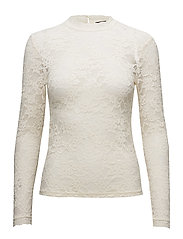 T-shirt regular ls w/lace - IVORY