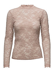 T-shirt regular ls w/lace - VINTAGE POWDER