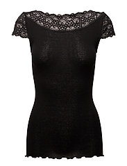 Silk t-shirt regular ss w/ lace - BLACK