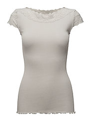 Silk t-shirt regular ss w/ lace - CEMENT GREY