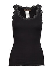 Organic top regular w/ lace - BLACK