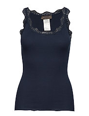Organic top w/ lace - NAVY
