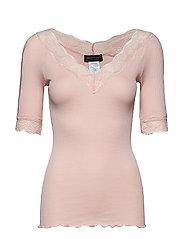 Silk t-shirt regular ss w/lace - SEPIA ROSE