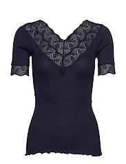 Silk t-shirt regular ss w/lace - NAVY