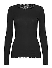 Organic t-shirt regular w/lace - BLACK
