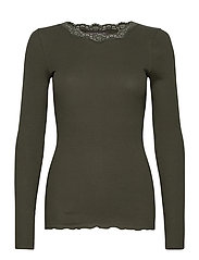 Organic t-shirt regular w/lace - BLACK GREEN