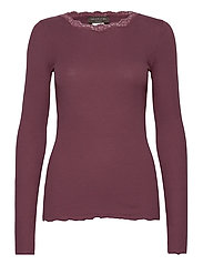 Organic t-shirt regular w/lace - GRAPE
