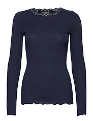 Organic t-shirt regular w/lace - NAVY