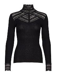 Silk t-shirt turtleneck regular ls w/wide lace - BLACK