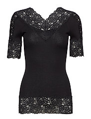 Silk t-shirt regular ss w/lace - BLACK