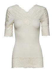 Silk t-shirt regular ss w/lace - IVORY