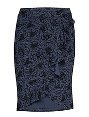 Skirt - TRUE NAVY ROSE PRINT