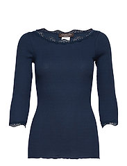 Organic t-shirt boat neck w/lace - NAVY