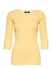 Organic t-shirt boat neck w/lace - VANILLA YELLOW
