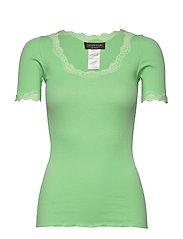 Organic t-shirt regular ss w/ rev,v - GREEN ASH
