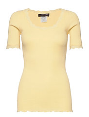 Organic t-shirt regular ss w/ rev,v - VANILLA YELLOW