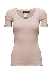 Silk t-shirt regular ss w/ rev,vint - PALE DOGWOOD