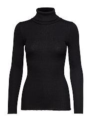 Silk t-shirt regular ls roller neck - BLACK
