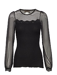 Silk t-shirt regular ls w/lace - BLACK