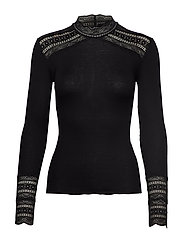 Silk t-shirt turtleneck regular ls - BLACK