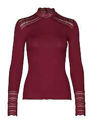 Silk t-shirt turtleneck regular ls - SOFT WINE