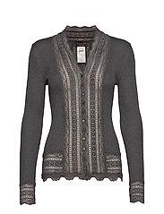 Silk cardigan regular ls w/wide lac - DARK GREY MELANGE