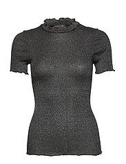 Silk t-shirt regular ss w/lurex - BLACK SILVER SHINE