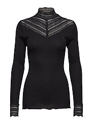 Silk t-shirt regular ls w/wide lace - BLACK